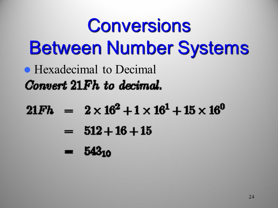 24 Conversions Between Number Systems Hexadecimal to Decimal
