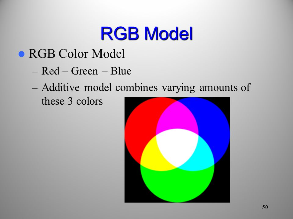 RGB Model RGB Color Model – Red – Green – Blue – Additive model combines varying amounts of these 3 colors 50