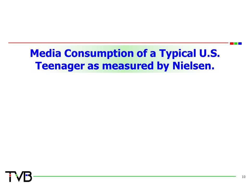 Media Consumption of a Typical U.S. Teenager as measured by Nielsen. 10