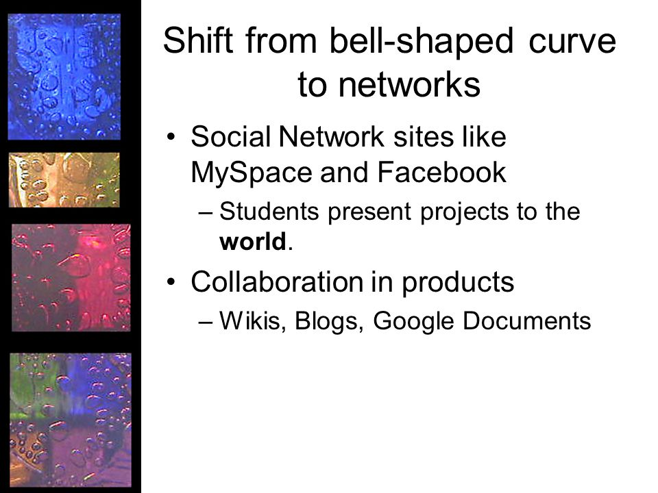 Shift from bell-shaped curve to networks Social Network sites like MySpace and Facebook –Students present projects to the world.