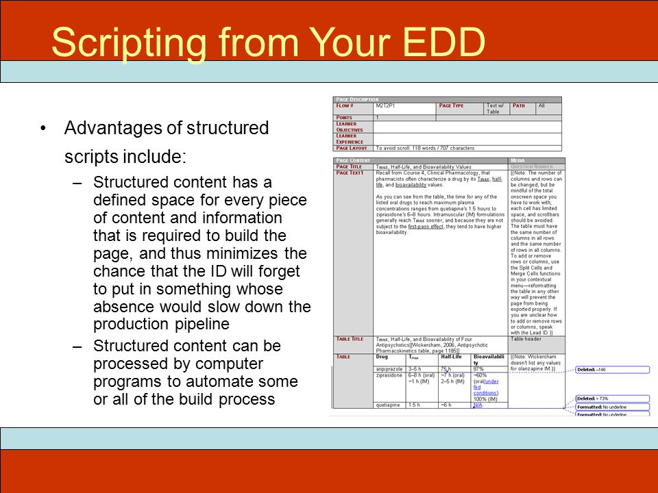 Advantages of structured scripts include: –Structured content has a defined space for every piece of content and information that is required to build the page, and thus minimizes the chance that the ID will forget to put in something whose absence would slow down the production pipeline –Structured content can be processed by computer programs to automate some or all of the build process ITEC 715 Scripting from Your EDD