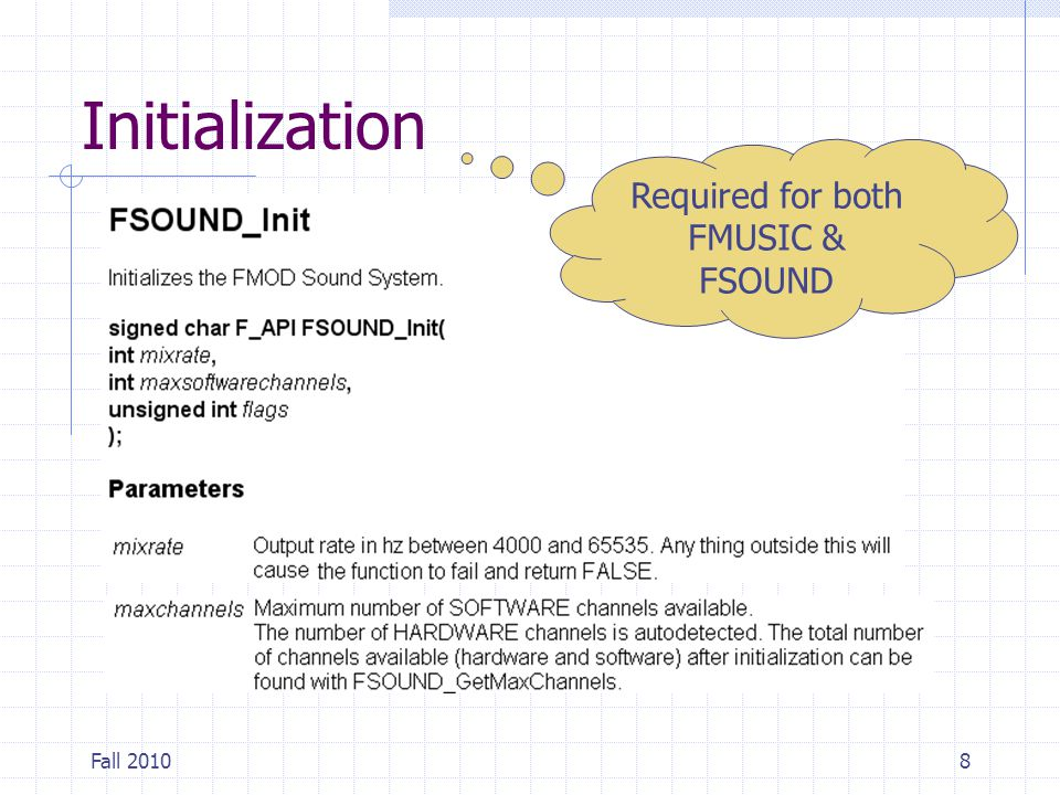 Fall 20108 Initialization Required for both FMUSIC & FSOUND