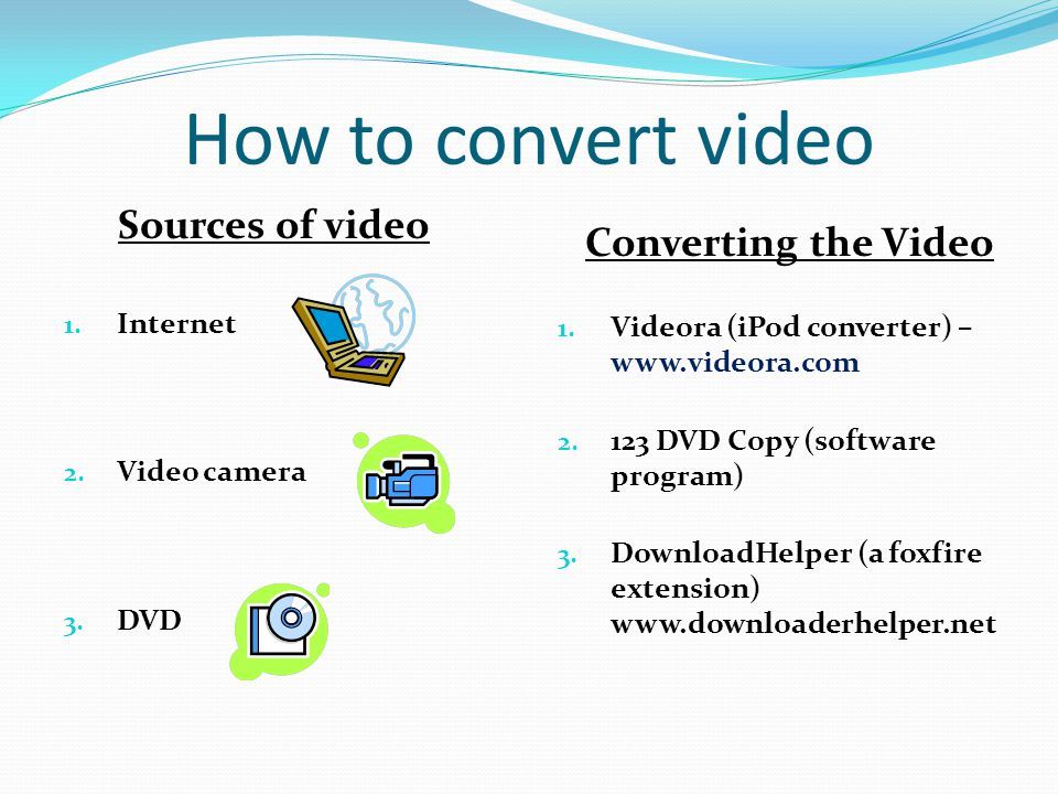 How to convert video Sources of video 1. Internet 2.