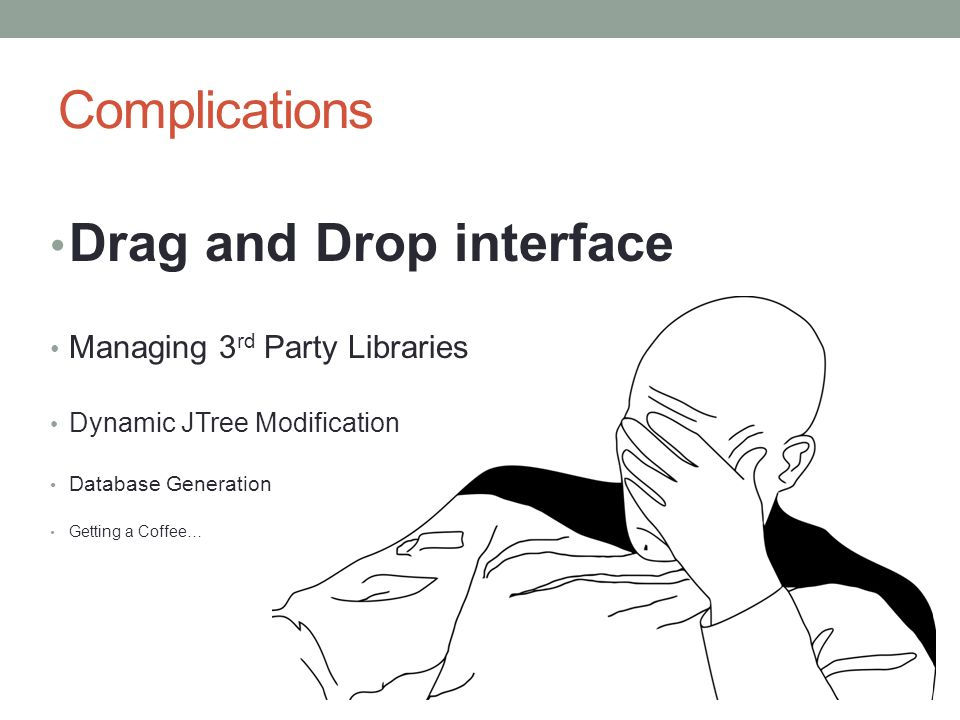 Complications Drag and Drop interface Managing 3 rd Party Libraries Dynamic JTree Modification Database Generation Getting a Coffee…