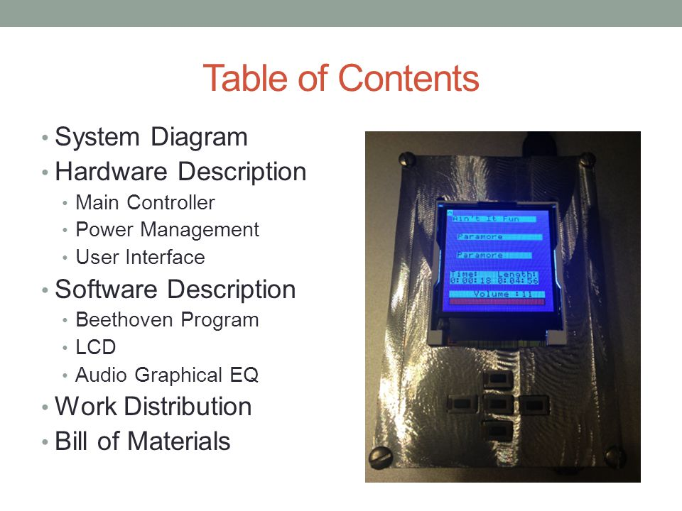 Table of Contents System Diagram Hardware Description Main Controller Power Management User Interface Software Description Beethoven Program LCD Audio Graphical EQ Work Distribution Bill of Materials