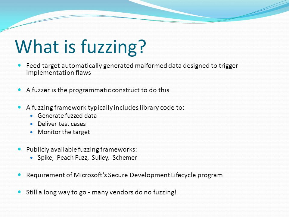 What is fuzzing.