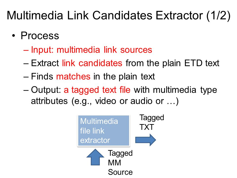Multimedia Link Candidates Extractor (1/2) Process –Input: multimedia link sources –Extract link candidates from the plain ETD text –Finds matches in the plain text –Output: a tagged text file with multimedia type attributes (e.g., video or audio or …) Multimedia file link extractor Tagged MM Source Tagged TXT