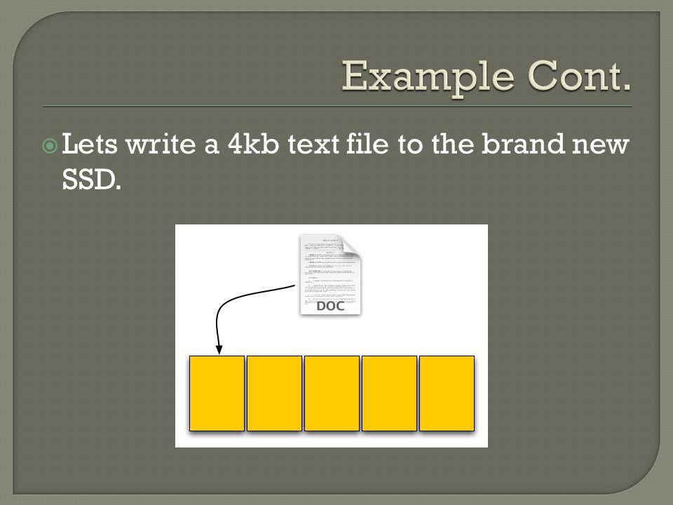  Lets write a 4kb text file to the brand new SSD.