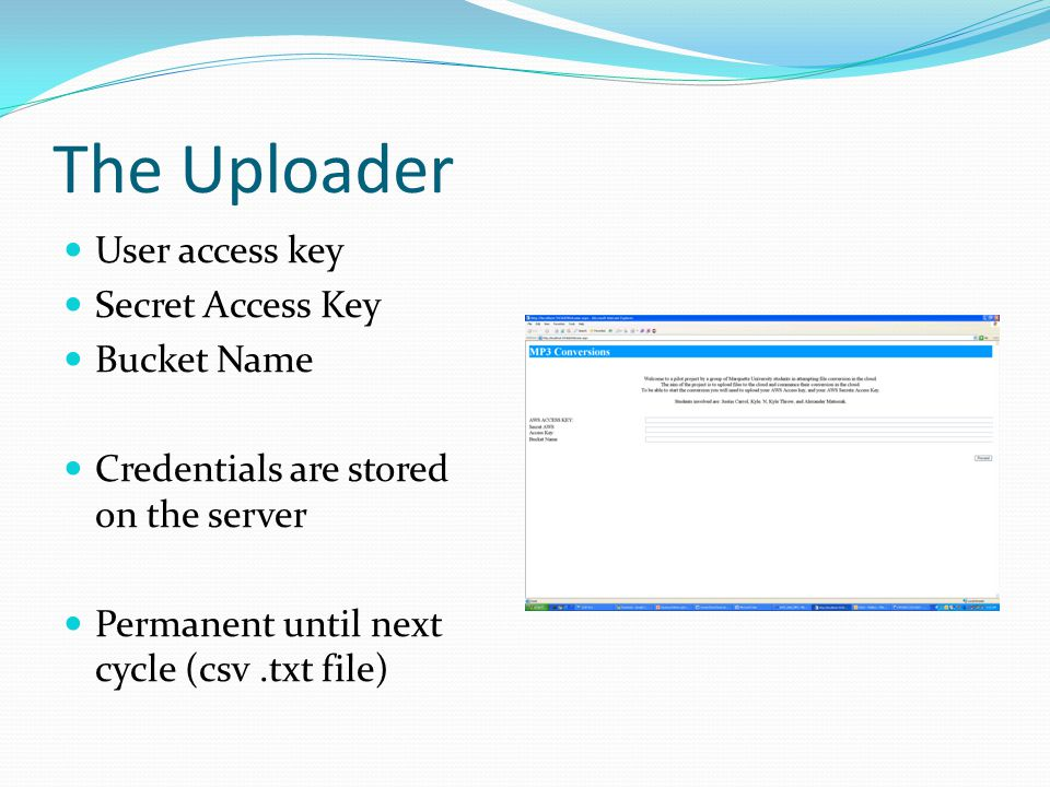 The Uploader User access key Secret Access Key Bucket Name Credentials are stored on the server Permanent until next cycle (csv.txt file)