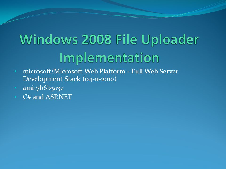 microsoft/Microsoft Web Platform - Full Web Server Development Stack (04-11-2010) ami-7b6b3a3e C# and ASP.NET