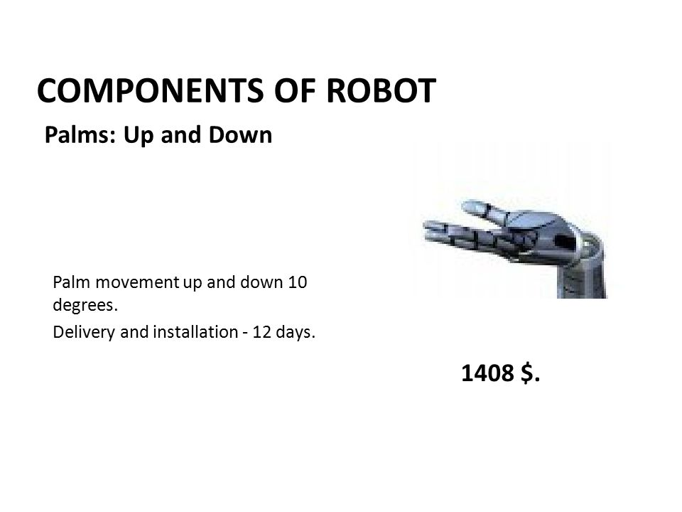 COMPONENTS OF ROBOT Palm movement up and down 10 degrees.
