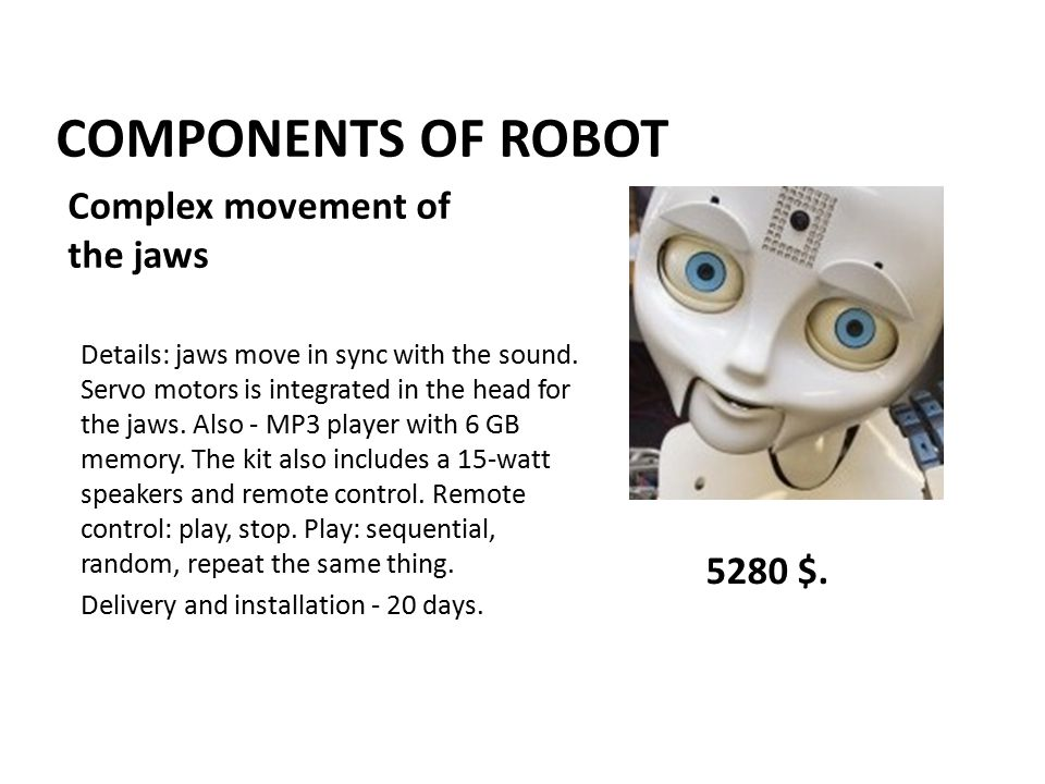 COMPONENTS OF ROBOT Details: jaws move in sync with the sound.