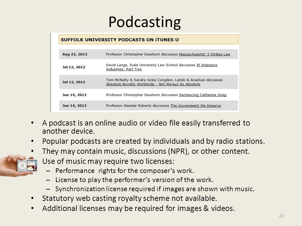 20 Podcasting A podcast is an online audio or video file easily transferred to another device.