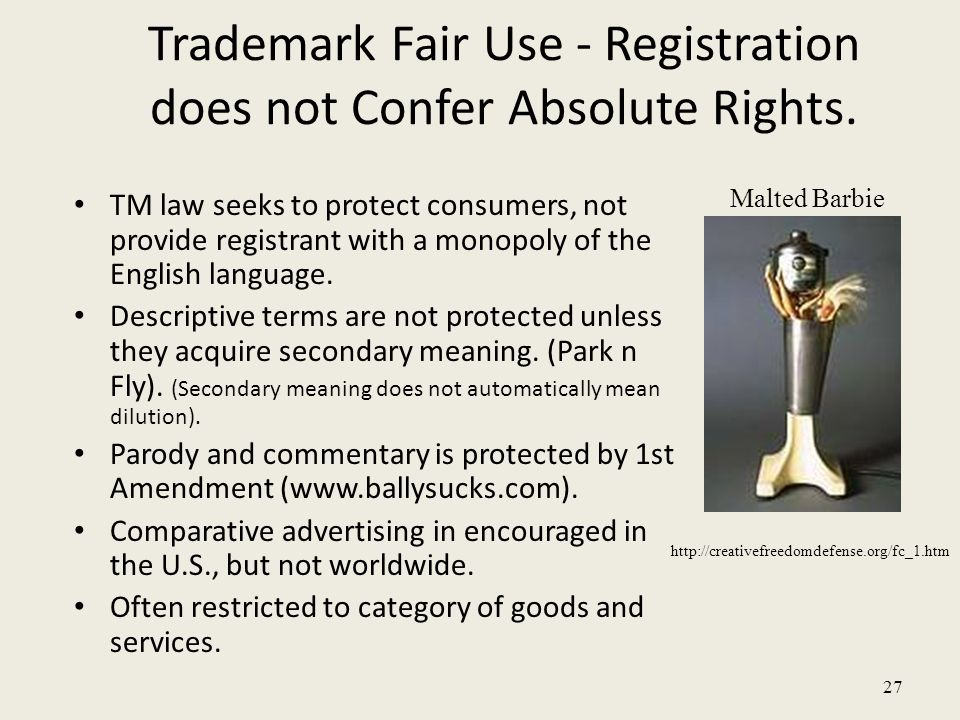 27 Trademark Fair Use - Registration does not Confer Absolute Rights.