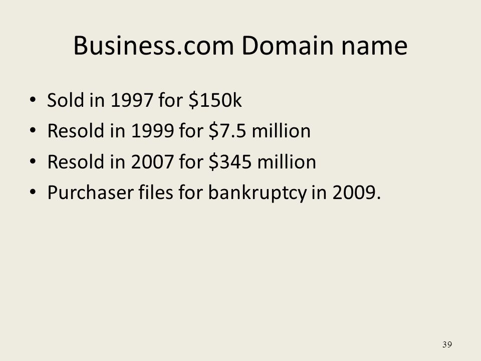 Business.com Domain name Sold in 1997 for $150k Resold in 1999 for $7.5 million Resold in 2007 for $345 million Purchaser files for bankruptcy in 2009.