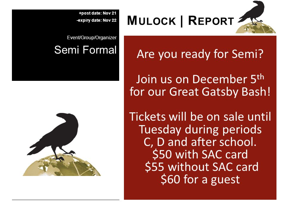 Are you ready for Semi. Join us on December 5 th for our Great Gatsby Bash.
