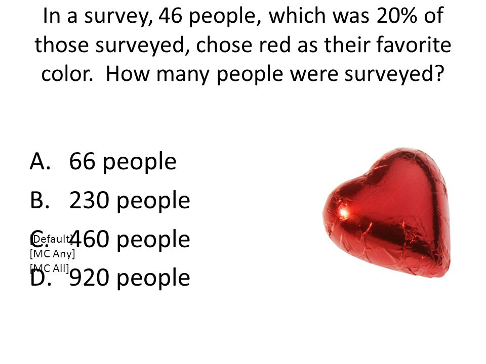 In a survey, 46 people, which was 20% of those surveyed, chose red as their favorite color.