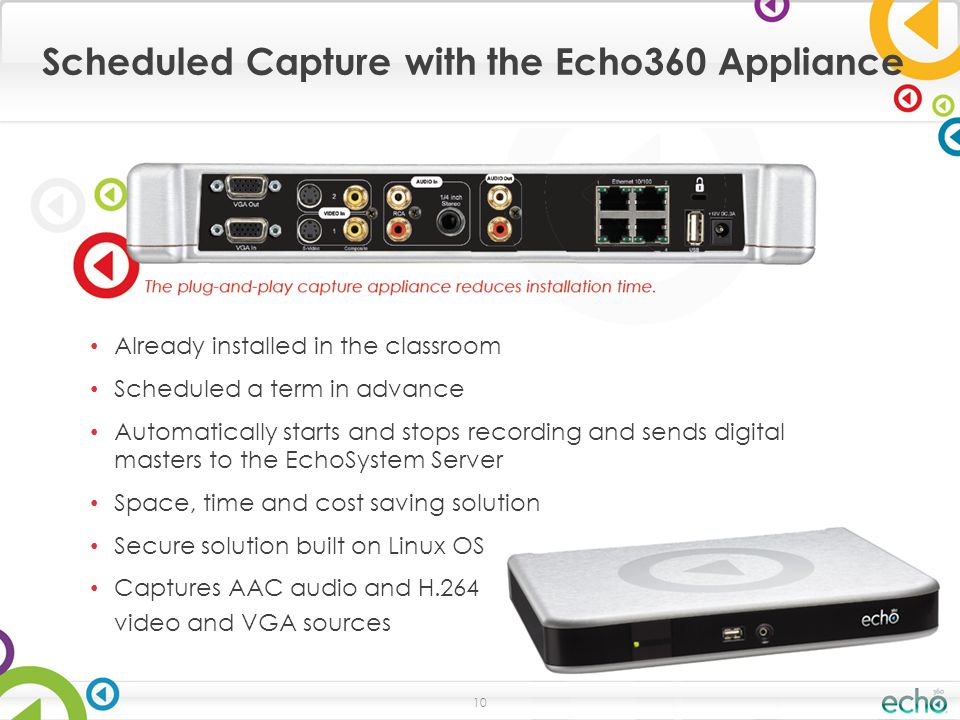 Scheduled Capture with the Echo360 Appliance 10 Already installed in the classroom Scheduled a term in advance Automatically starts and stops recording and sends digital masters to the EchoSystem Server Space, time and cost saving solution Secure solution built on Linux OS Captures AAC audio and H.264 video and VGA sources