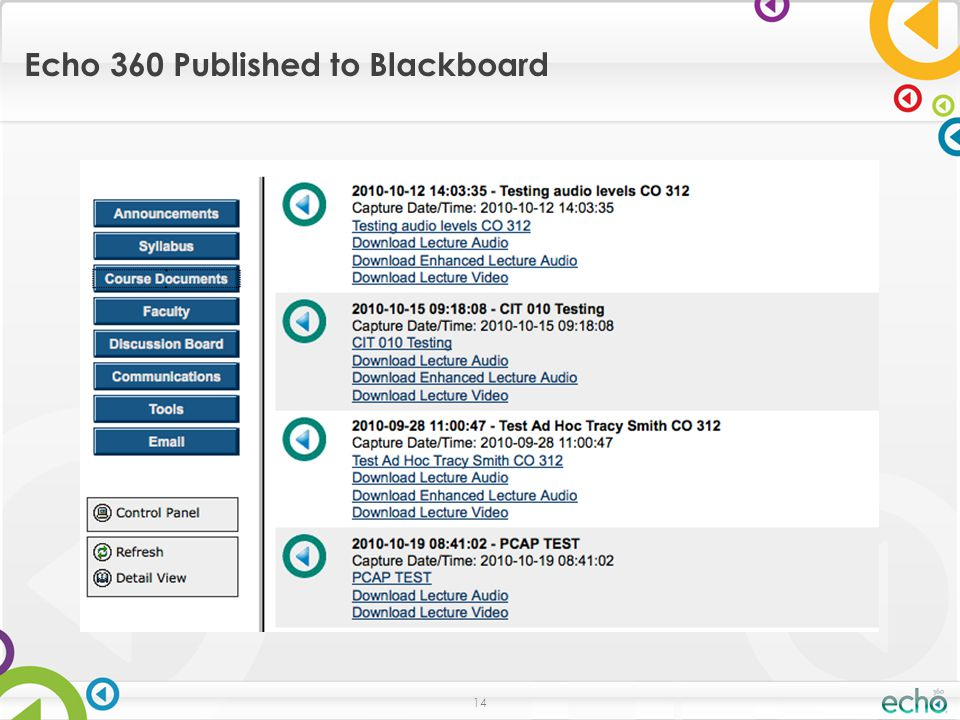 14 Echo 360 Published to Blackboard