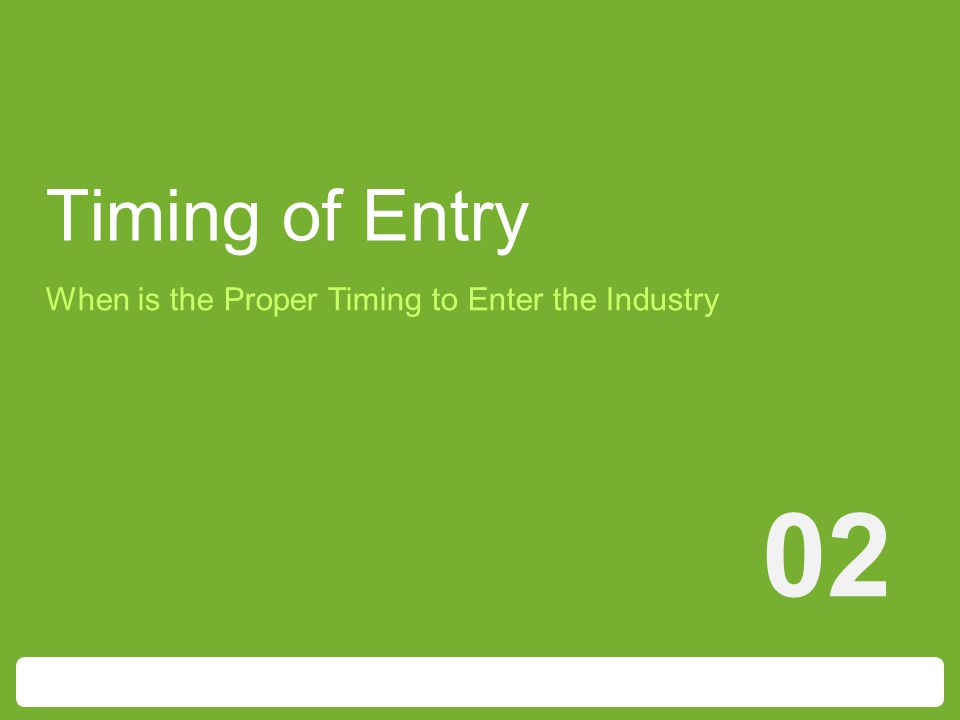 Timing of Entry 02 When is the Proper Timing to Enter the Industry