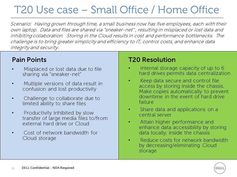 T20 Use case – Small Office / Home Office 11 DELL Confidential - NDA Required Scenario: Having grown through time, a small business now has five employees, each with their own laptop.