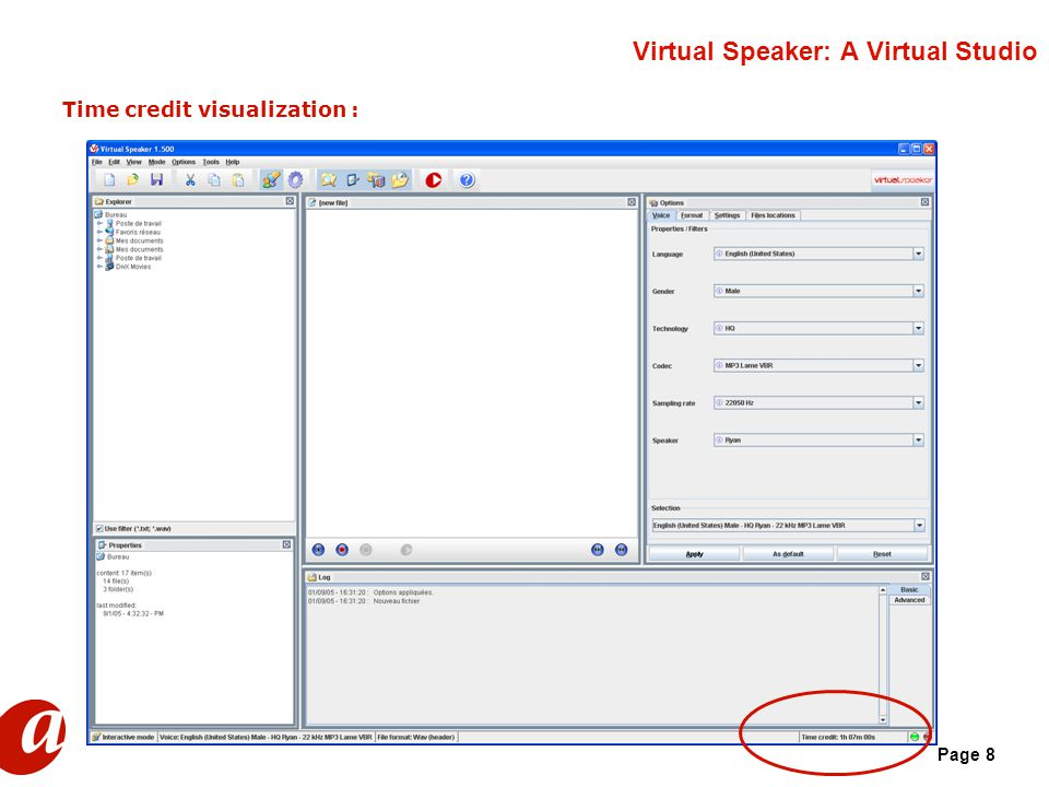 Page 8 Virtual Speaker: A Virtual Studio Time credit visualization :