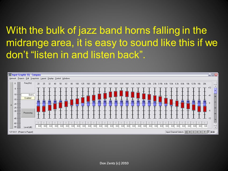 With the bulk of jazz band horns falling in the midrange area, it is easy to sound like this if we don't listen in and listen back .