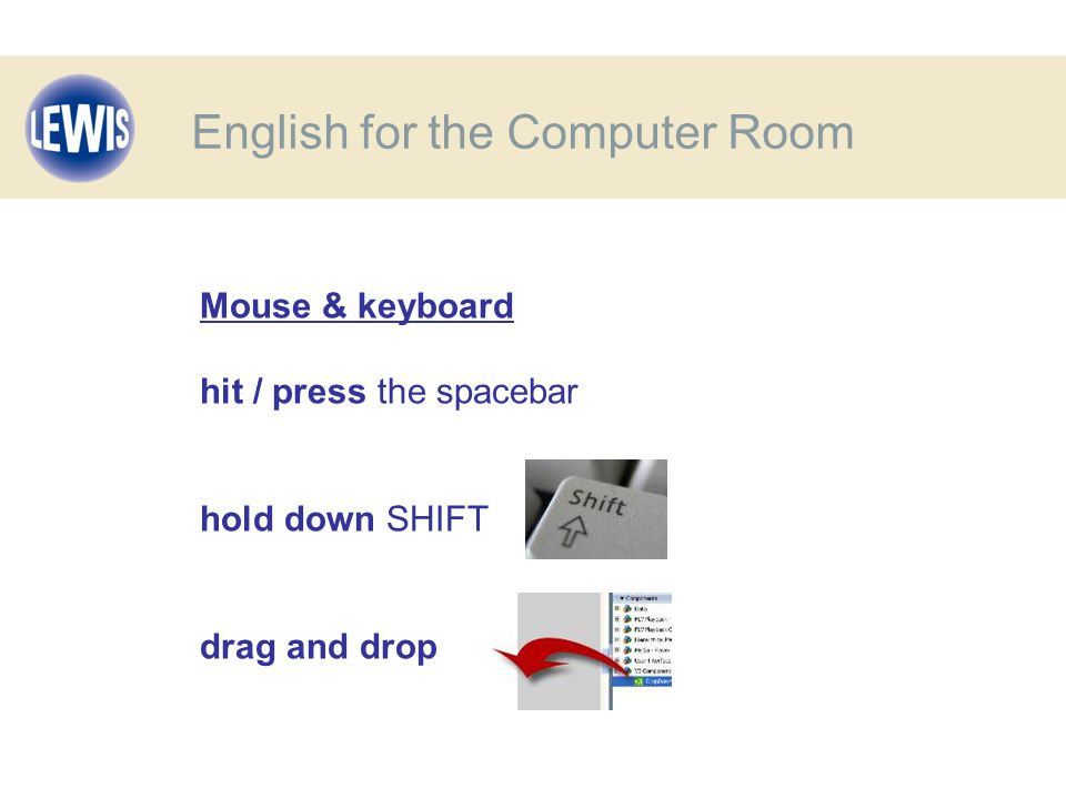Mouse & keyboard hit / press the spacebar hold down SHIFT drag and drop English for the Computer Room
