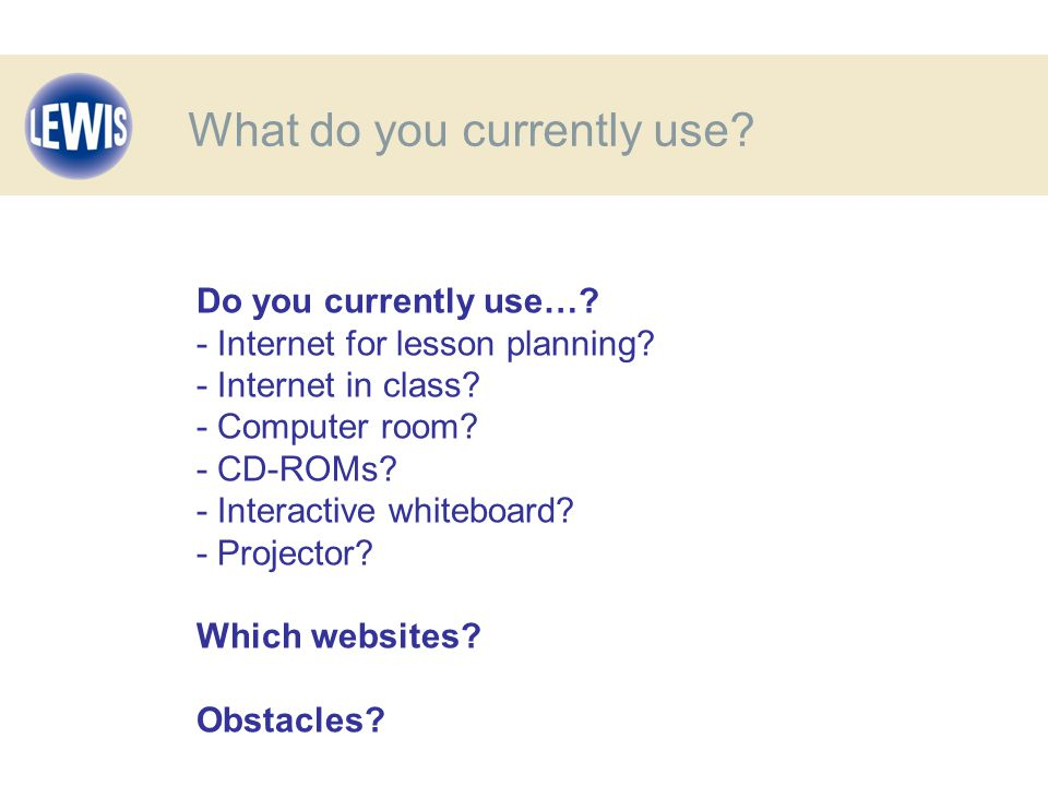 Do you currently use…. - Internet for lesson planning.