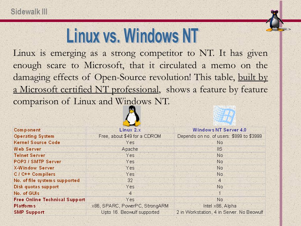 Linux is emerging as a strong competitor to NT.