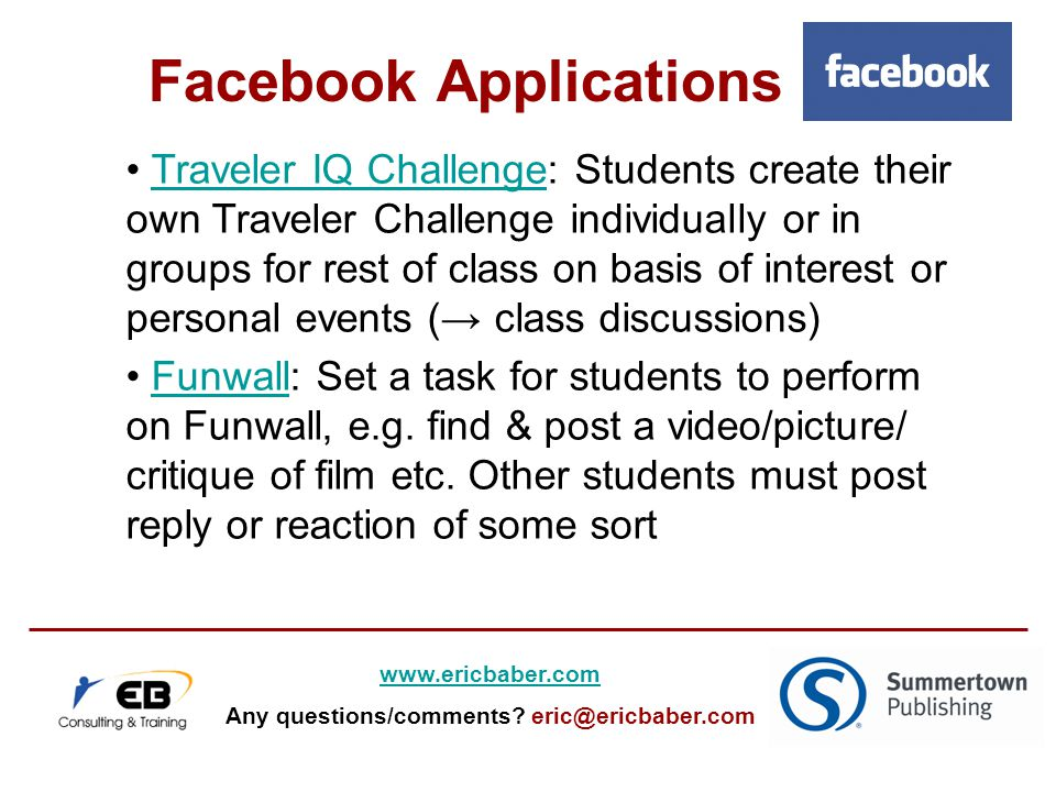 Traveler IQ Challenge: Students create their own Traveler Challenge individually or in groups for rest of class on basis of interest or personal events (→ class discussions)Traveler IQ Challenge Funwall: Set a task for students to perform on Funwall, e.g.