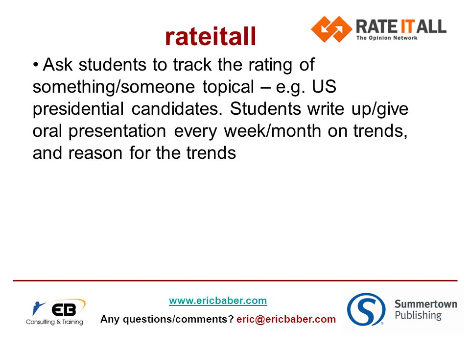 Ask students to track the rating of something/someone topical – e.g.