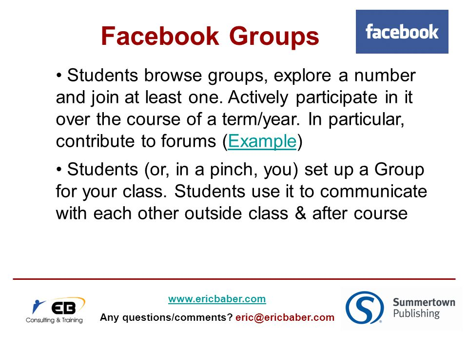 Students browse groups, explore a number and join at least one.
