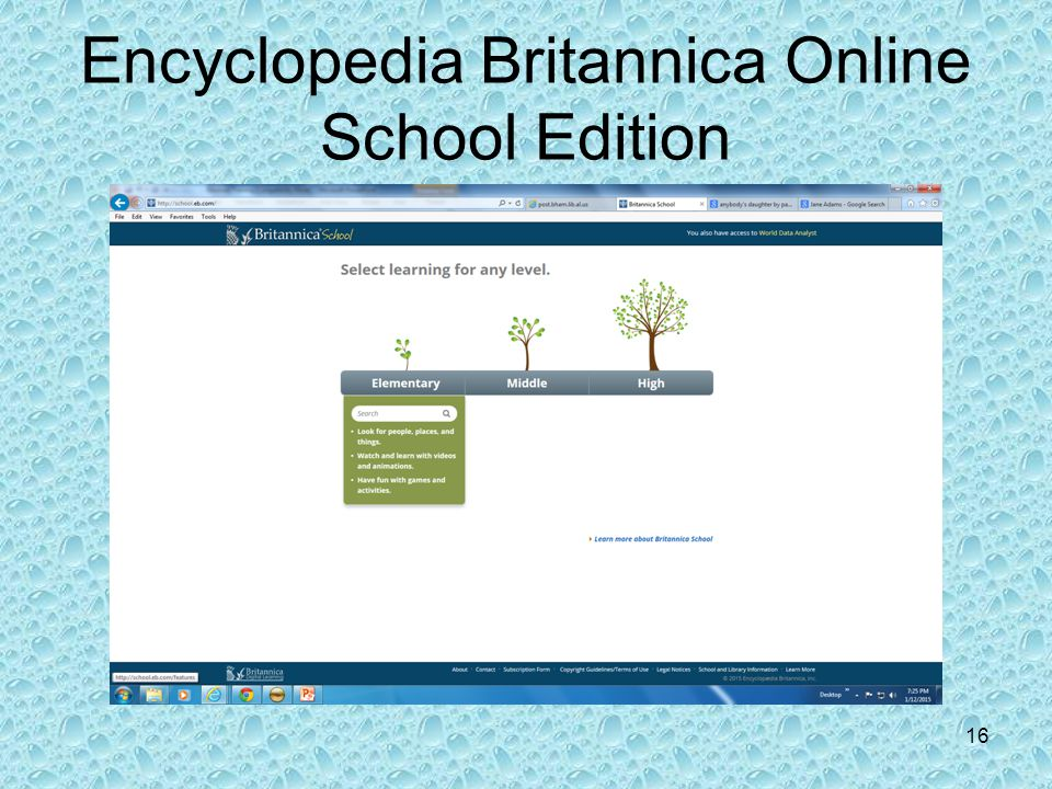 Encyclopedia Britannica Online School Edition 16