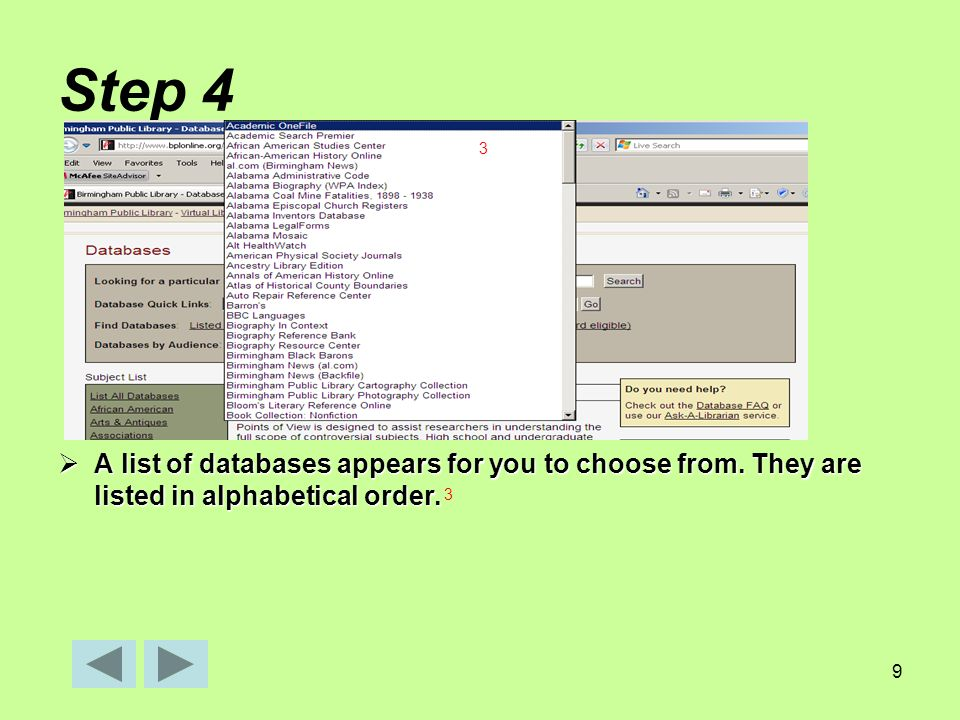 9 Step 4  A list of databases appears for you to choose from.