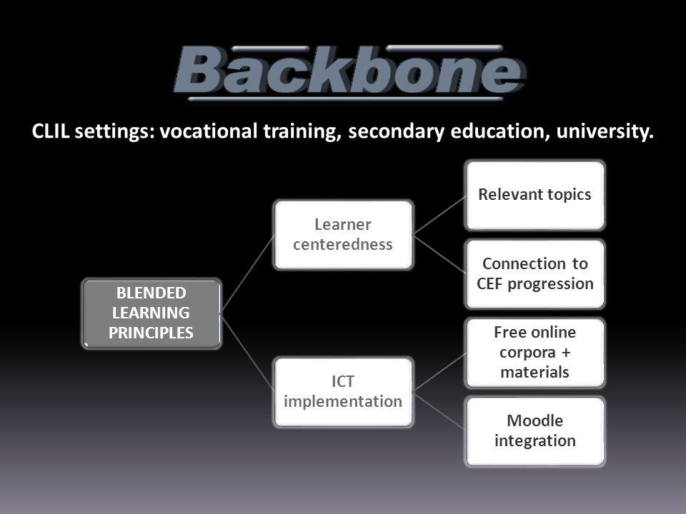 CLIL settings: vocational training, secondary education, university.