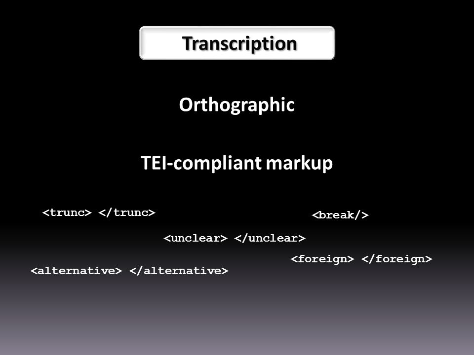 Orthographic TEI-compliant markup