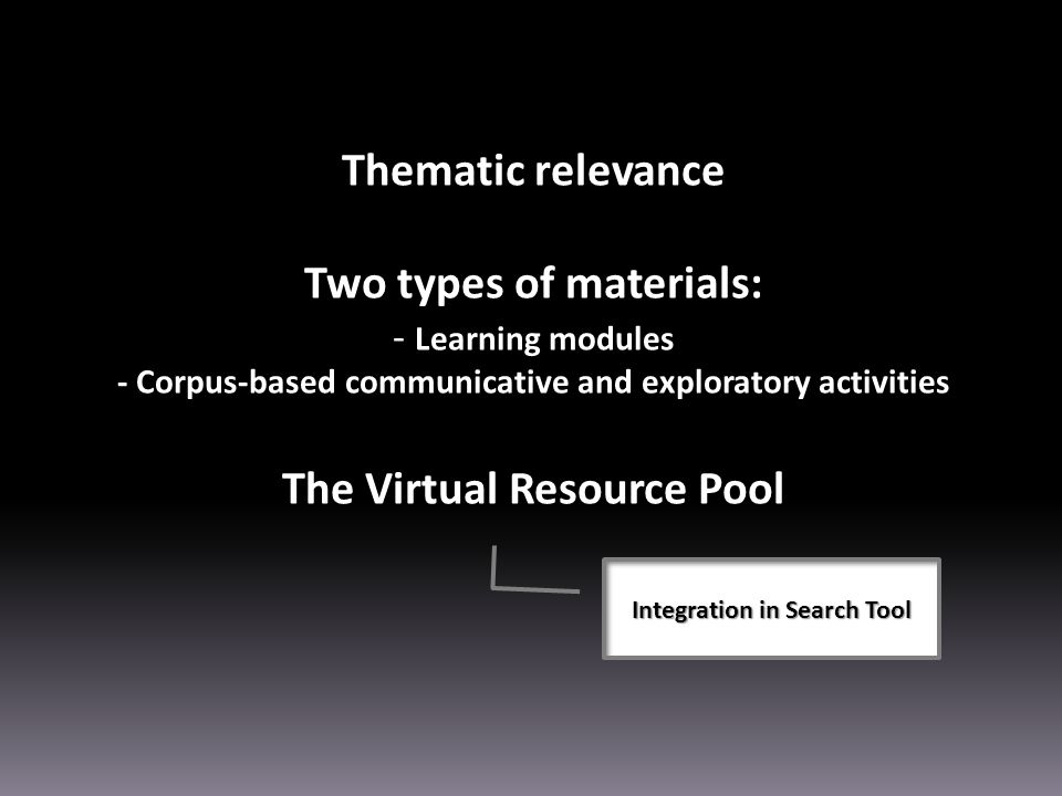 Thematic relevance Two types of materials: - Learning modules - Corpus-based communicative and exploratory activities The Virtual Resource Pool Integration in Search Tool