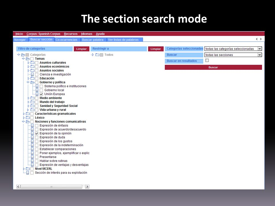 The section search mode