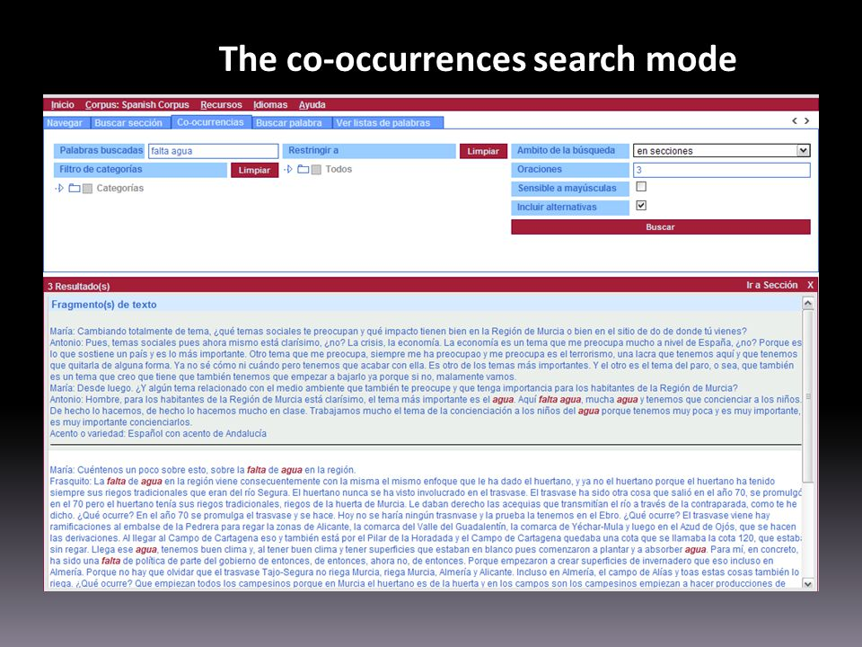 The co-occurrences search mode