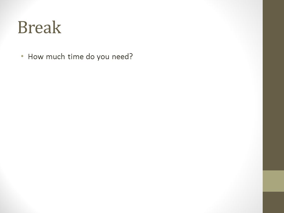 Break How much time do you need