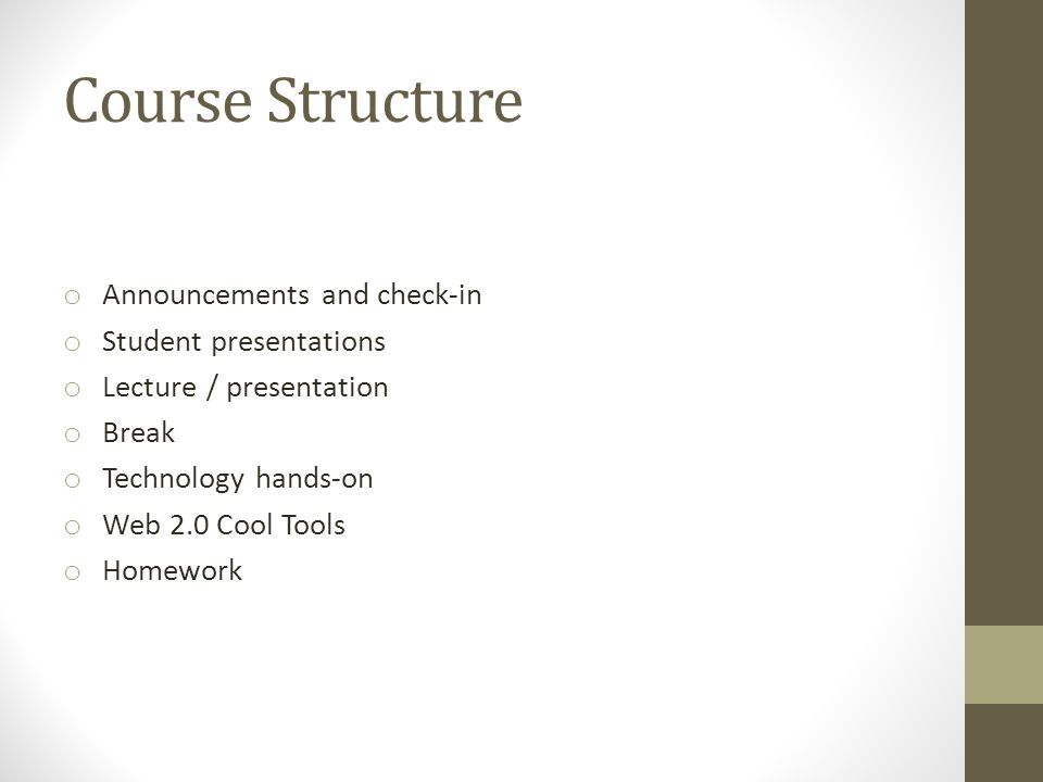Course Structure o Announcements and check-in o Student presentations o Lecture / presentation o Break o Technology hands-on o Web 2.0 Cool Tools o Homework