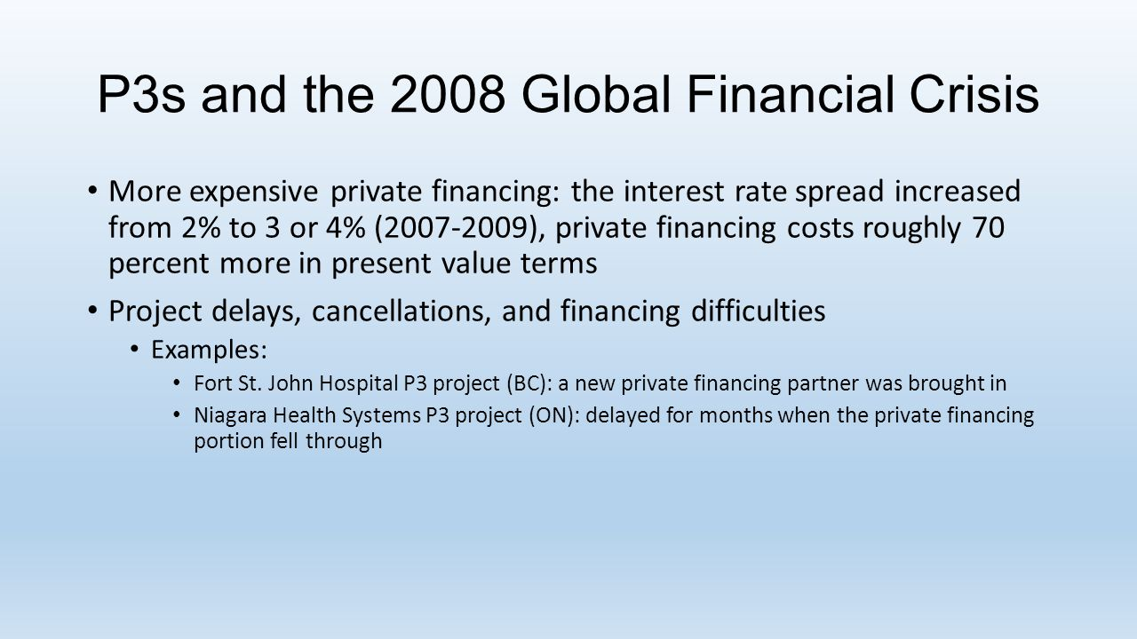 P3s and the 2008 Global Financial Crisis More expensive private financing: the interest rate spread increased from 2% to 3 or 4% (2007-2009), private financing costs roughly 70 percent more in present value terms Project delays, cancellations, and financing difficulties Examples: Fort St.