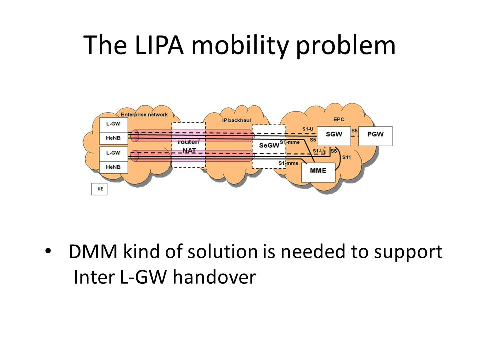 The LIPA mobility problem DMM kind of solution is needed to support Inter L-GW handover