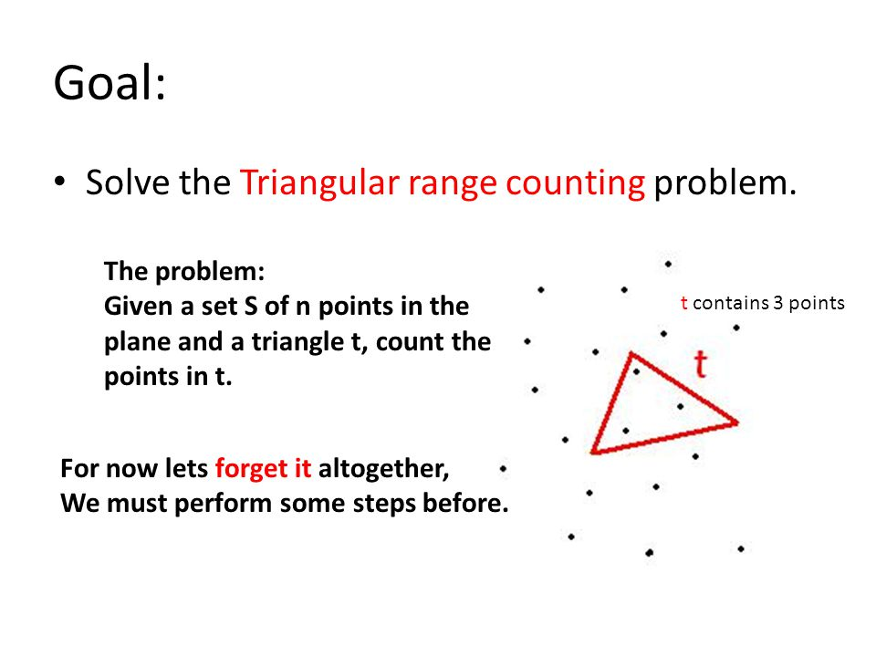 Goal: Solve the Triangular range counting problem.