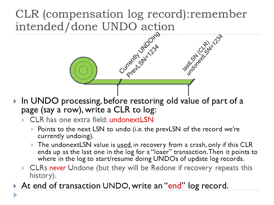  In UNDO processing, before restoring old value of part of a page (say a row), write a CLR to log:  CLR has one extra field: undonextLSN  Points to the next LSN to undo (i.e.