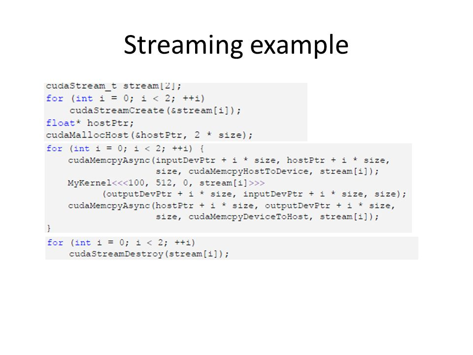 Streaming example
