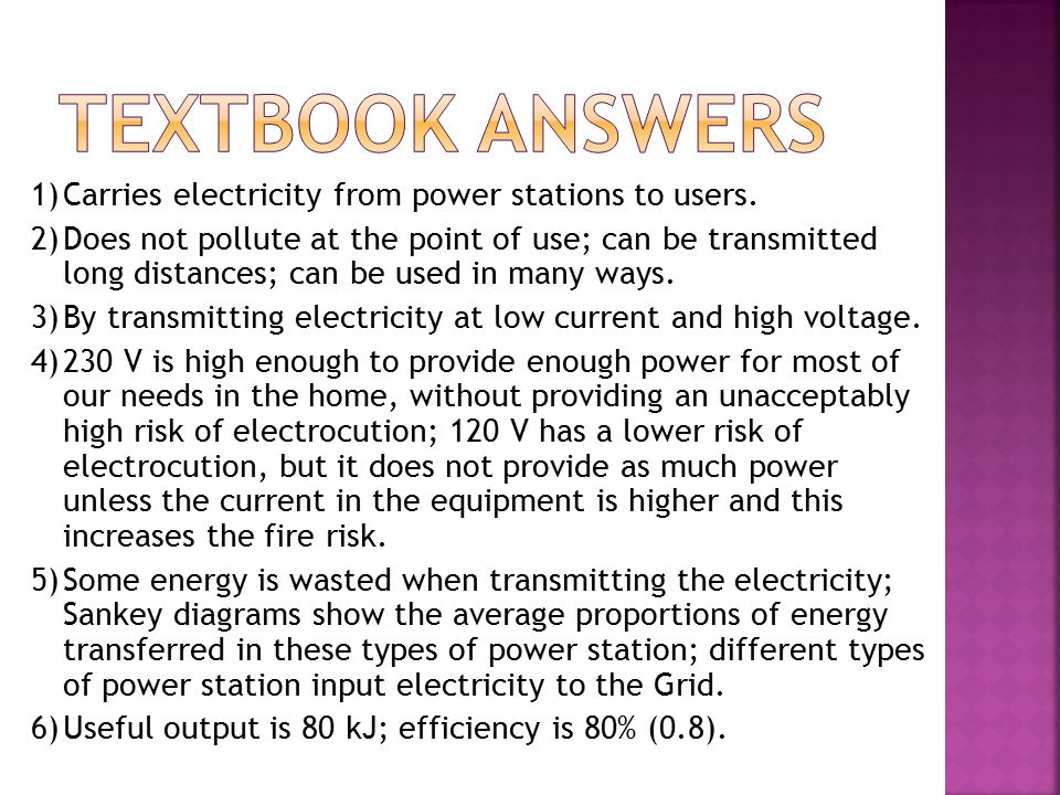 1)Carries electricity from power stations to users.