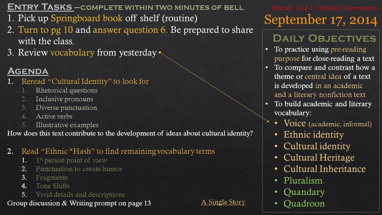 September 17, 2014 Daily Objectives To practice using pre-reading purpose for close-reading a text To compare and contrast how a theme or central idea of a text is developed in an academic and a literary nonfiction text To build academic and literary vocabulary: Voice (academic, informal) Ethnic identity Cultural identity Cultural Heritage Cultural Inheritance Pluralism Quandary Quadroon Honors.