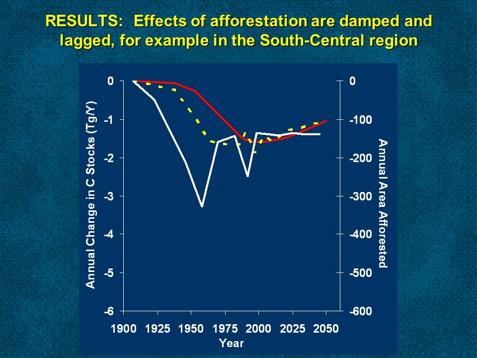 RESULTS: Effects of afforestation are damped and lagged, for example in the South-Central region